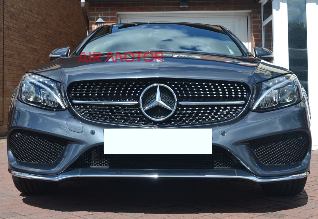 2015 mercedes benz w205 c class c450amg type piano black for Mercedes benz grills