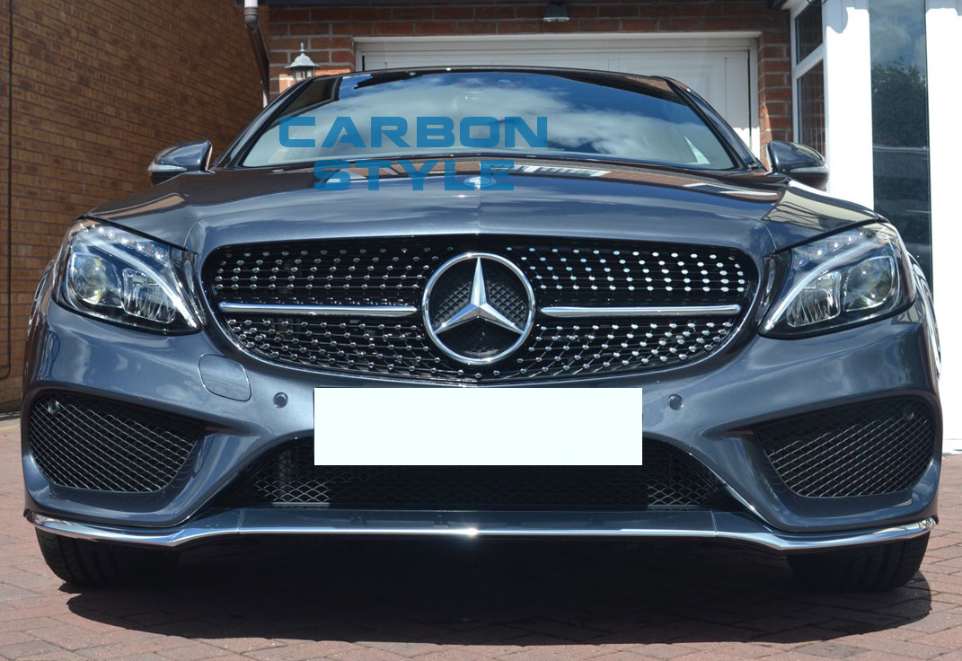 Diamond shiny black c450amg style front grille for benz c for Mercedes benz grille