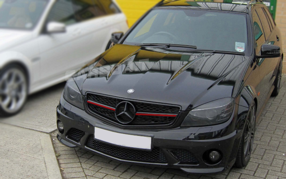 2008-2013 For Benz C-Class W204 C63 Type RED Metallic Matte Black Front Grille